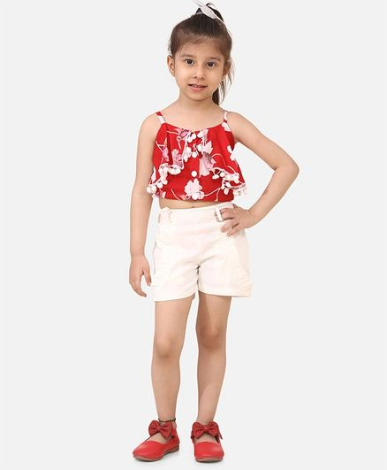 Cutiekins Lace Detailed Floral Print Sleeveless Crop Top With Shorts - Red & White