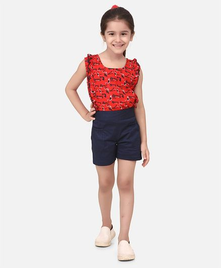 Cutiekins Ruffle Detailed Flamingo Printed Sleeveless Top With Shorts - Red & Navy Blue