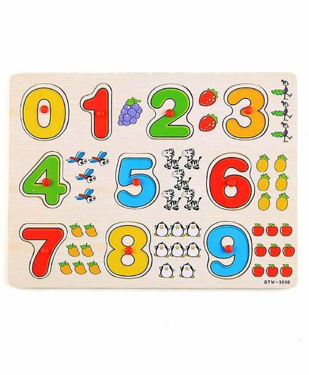 FunBlast Wooden Knob Puzzle Multicolor - 10 Pieces