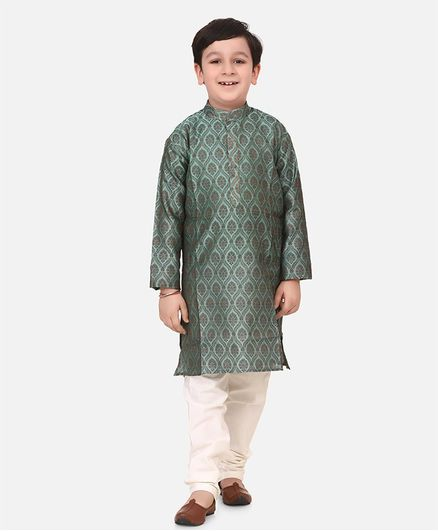 Lilpicks Couture Full Sleeves Motif Pattern Kurta With Pajama - Green