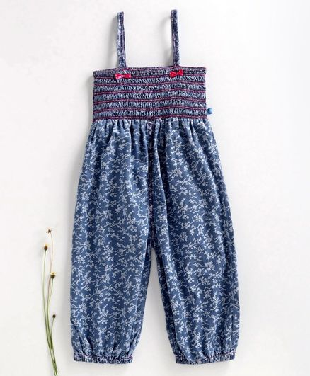 Chicklets Flower Print Sleeveless Jumpsuit - Blue & Pink