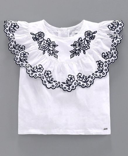 Babyoye Half Sleeves Top Floral Embroidery - White