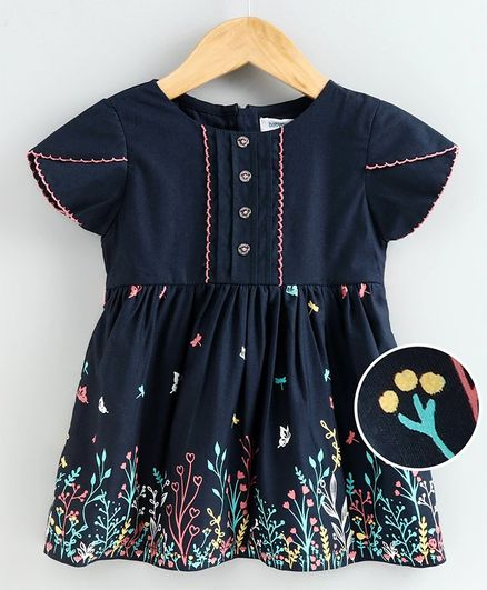 Babyoye Short Sleeves Frock Floral Print - Navy Blue
