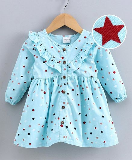 Babyoye  Cotton Full Sleeves Star Print Frock - Blue