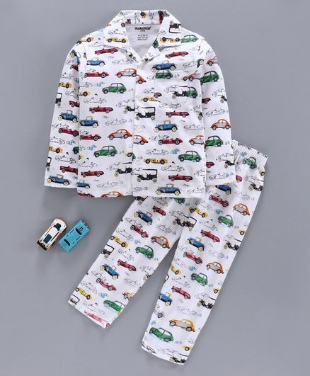 Cucumber Full Sleeves Night Suit Vehicle Print - White