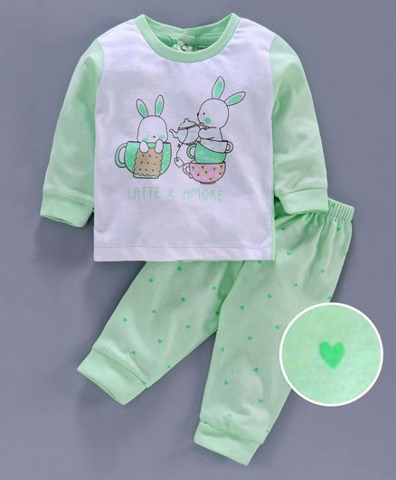 Cucumber Full Sleeves Tee and Bottom Bunny Print - Light Green