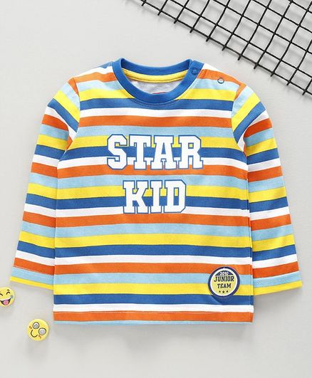 Babyhug Full Sleeves Stripe Tee Star Kid Print - Multicolour