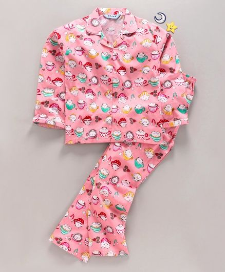 Enfance Core Cup & Kitty Printed Full Sleeves Night Suit - Pink
