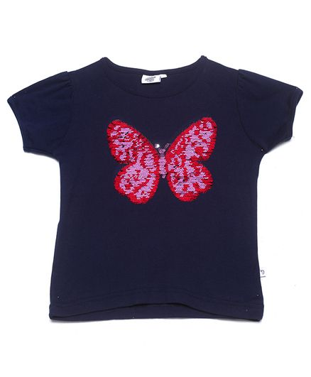 The Sandbox Clothing Co Short Sleeves Butterfly Design Top - Blue