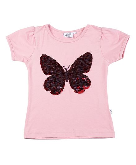 The Sandbox Clothing Co Short Sleeves Butterfly Design Top - Light Pink