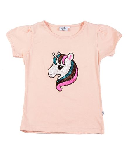 The Sandbox Clothing Co Short Sleeves Unicorn Sequined Top - Peach