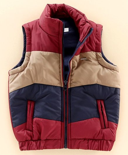 Babyoye Polyfill Sleeveless Block Pattern Padded Jacket - Maroon