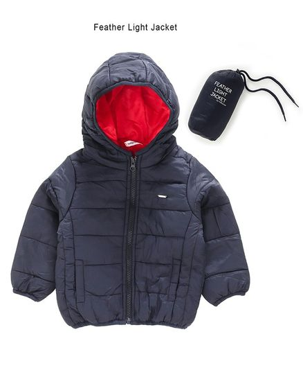 Babyoye Polyester Full Sleeves Padded Jacket With Pouch - Navy Blue