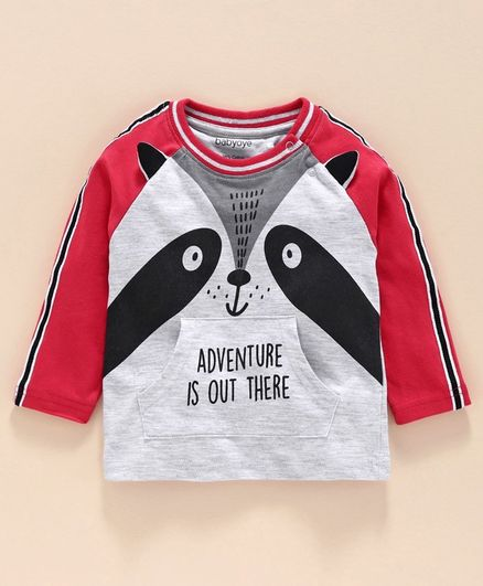 Babyoye Cotton Blend Full Sleeves Tee Fox Print - Grey