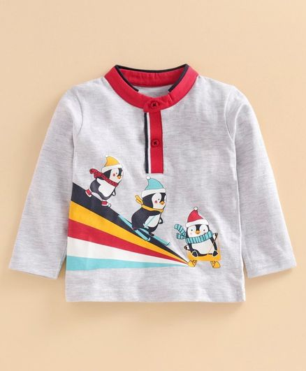Babyoye Full Sleeves Cotton Blend Tee Penguin Print - Grey