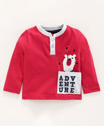 Babyoye Cotton Full Sleeves Tee Bear Print - Red