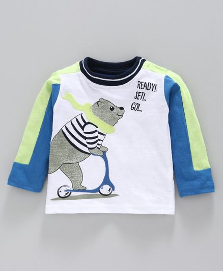 Babyoye Cotton Full Sleeves Tee Bear Print - White Blue