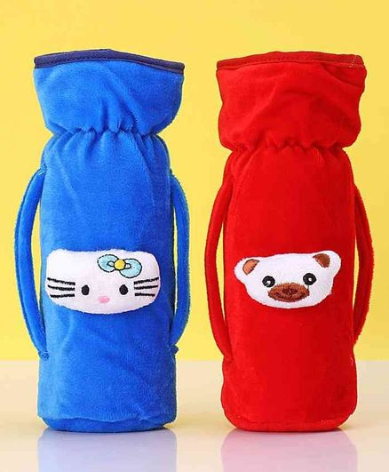 Zoe Twin Handle Velvet Bottle Cover Pack of 2 Blue Red - Fits Up to 240 ml Bottle