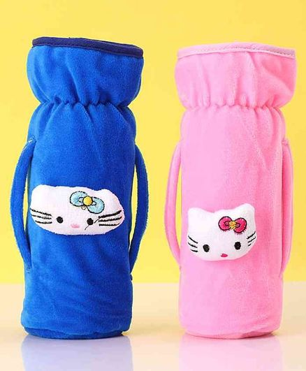Zoe Twin Handle Velvet Bottle Cover Pack of 2 Pink Blue - Fits Up to 240 ml Bottle