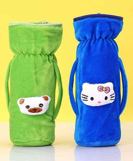 Zoe Twin Handle Velvet Bottle Cover Pack of 2 Blue Green - Fits Up to 240 ml Bottle