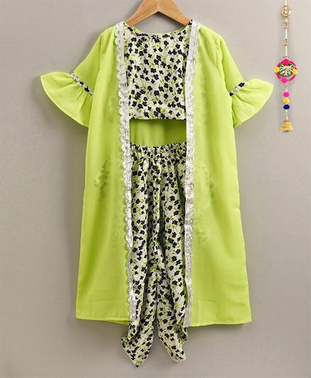 M'andy Flower Printed Top & Dhoti With Jacket - Parrot Green