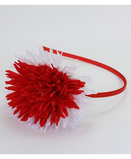 Pihoo Big Satin Flower With Hair Band - White & Red