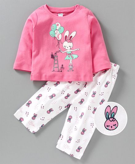 Tango Full Sleeves Tee & Lounge Pant Rabbit Print - Pink