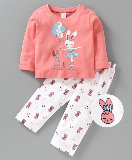 Tango Full Sleeves Tee & Lounge Pant Rabbit Print - Peach