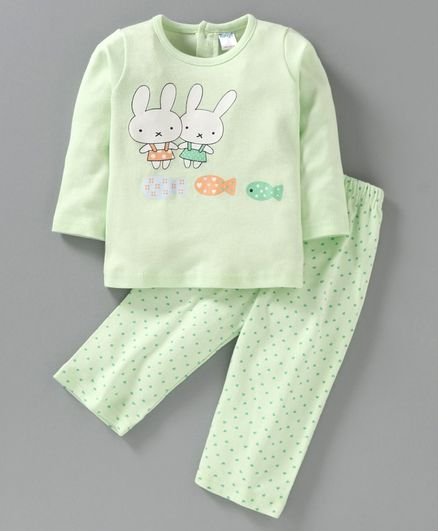 Tango Full Sleeves Tee & Lounge Pant Bunny & Fish Print - Green