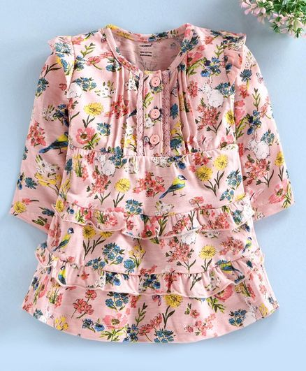 Cucumber Full Sleeves Frock Floral Print - Peach