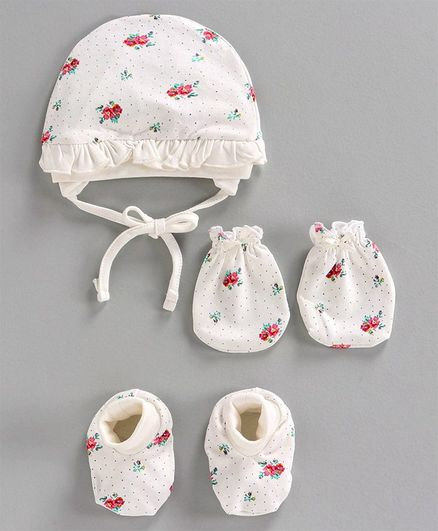 Cucumber Printed Cap & Mittens with Booties White - Diameter 10.5 cm