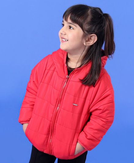 Babyoye Sleeveless Polyester Feather Light Jacket - Red