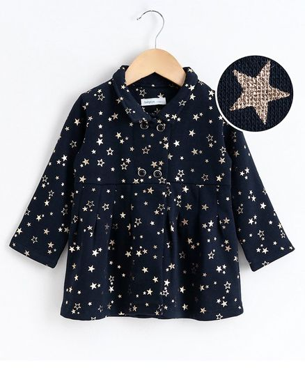 Babyoye Full Sleeves Blazer Star Print - Navy Blue