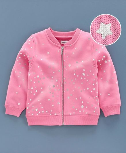 Babyoye 100% Cotton Terry & Looper Full Sleeves Sweat Jacket Star Print - Pink