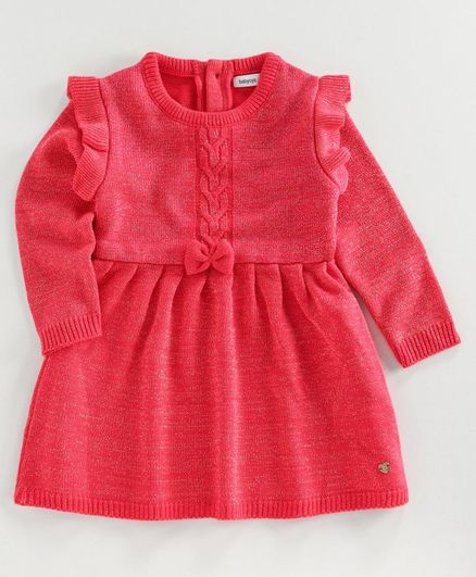 Babyoye Full Sleeves Woolen Dress - Pink