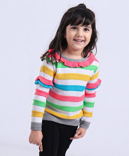 Babyoye Striped Full Sleeves Sweater - White & Multicolor