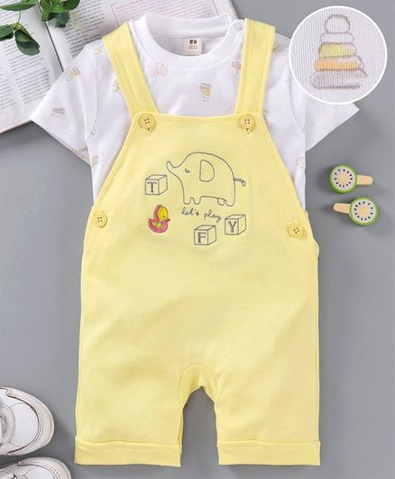 ToffyHouse Dungaree Style Romper with Half Sleeves Inner Tee Elephant Embroidery - Yellow