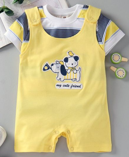 ToffyHouse Dungaree Style Romper with Half Sleeves Inner Tee Puppy Patch - Yellow