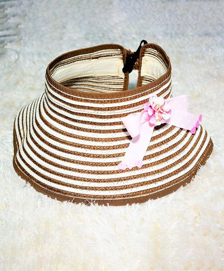 Tipy Tipy Tap Striped Bow Decor Hat - Brown