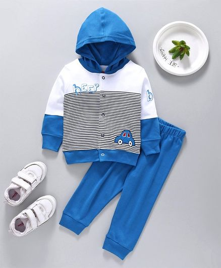 Babyhug Full Sleeves Hooded T-Shirt and Lounge Pant Set Car Print - Blue