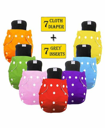 Babymoon Washable & Reusable Cloth Diaper Pocket With Bamboo Charcoal Insert Pack of 14 - Multicolor