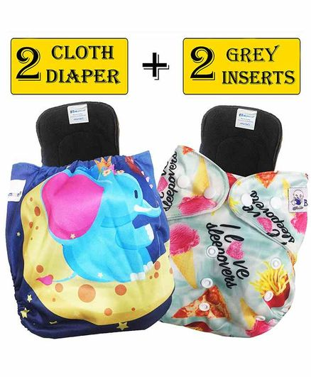 Babymoon Washable & Reusable Printed Cloth Diaper Pocket With Bamboo Charcoal Insert Pack of 4 -  Multicolor