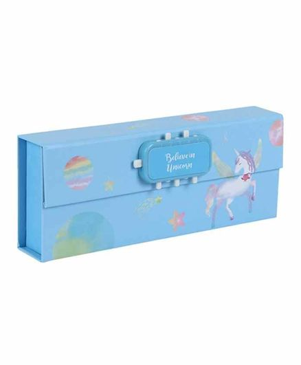 Passion Petals Pencil Box with Lock Code Unicorn Print - Blue