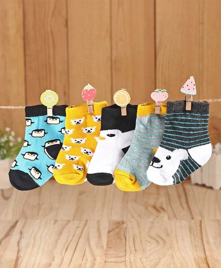 Cute Walk by Babyhug Antibacterial Ankle Length Socks Multi Design Pack of 5 Pairs - Yellow White
