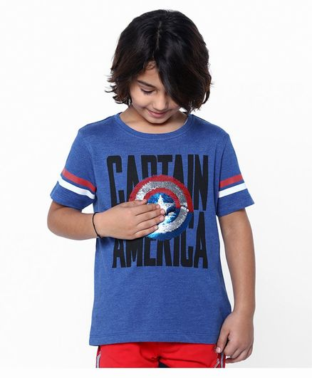 Pine Kids Half Sleeve Biowashed Tee Captain America Reverse Sequinned - Blue