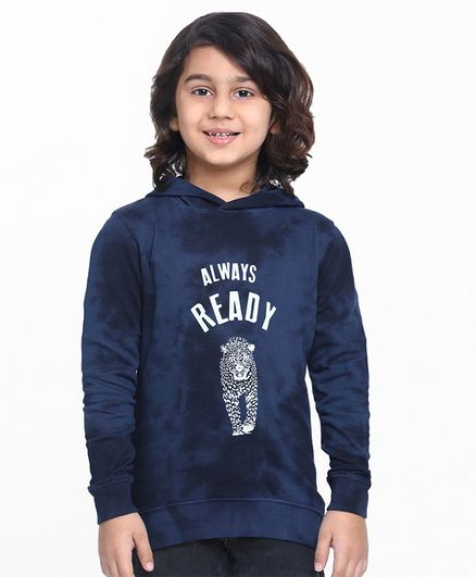Pine Kids Full Sleeves Biowashed Sweatshirt Ready Print - Navy Blue