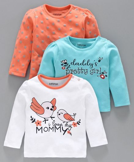Babyoye Full Sleeves Cotton Tee Pack of 3 - Blue Orange White