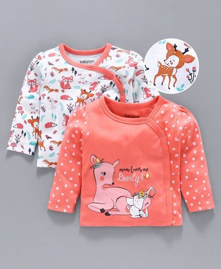 Babyoye Cotton Half Sleeves Jhabla Animal Print Pack of 2 - Peach White