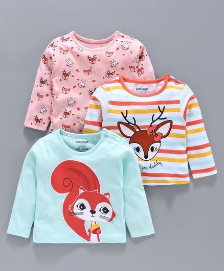 Babyoye Cotton  Full Sleeves Tee Pack of 3 - Pink Blue