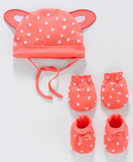 Babyoye Cotton Cap & Mittens With Booties Dot Print  - Coral